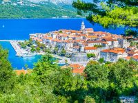 Aerial view on picturesque old town Korcula, Island Korcula, Croatia Europe. Korcula town