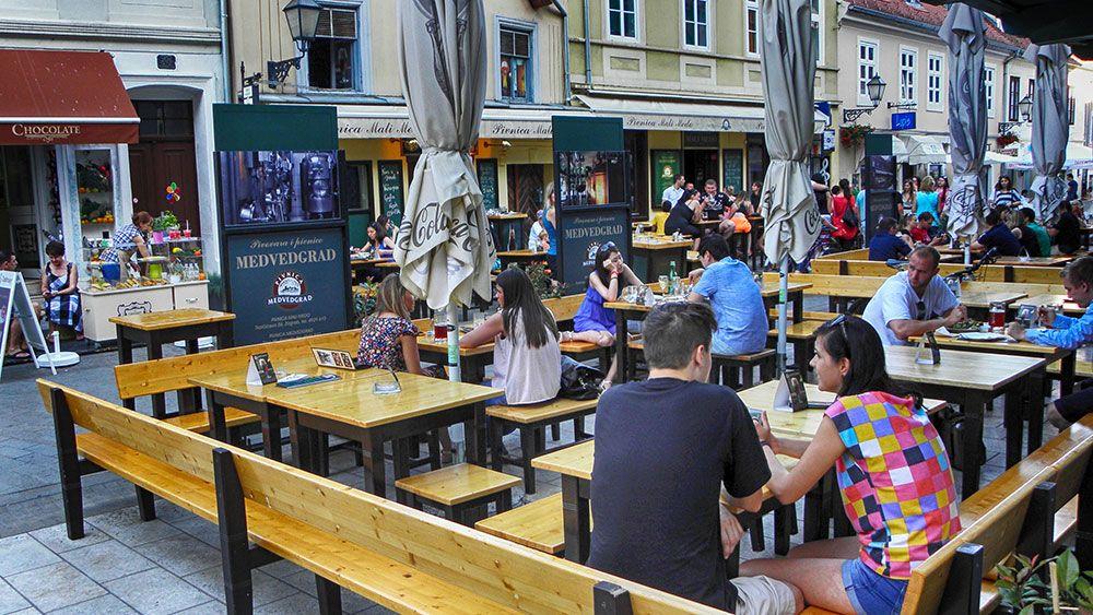 People enjoying drinks on Tkalčićeva street in Zagreb